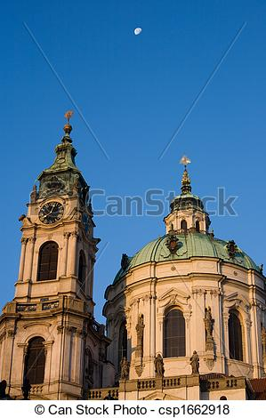 Pictures of Prague baroque church with moon.