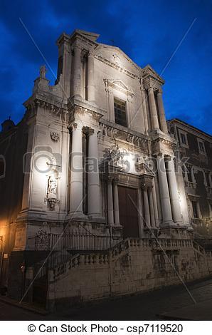 Stock Photography of Baroque church in Catania Sicily Italy, San.