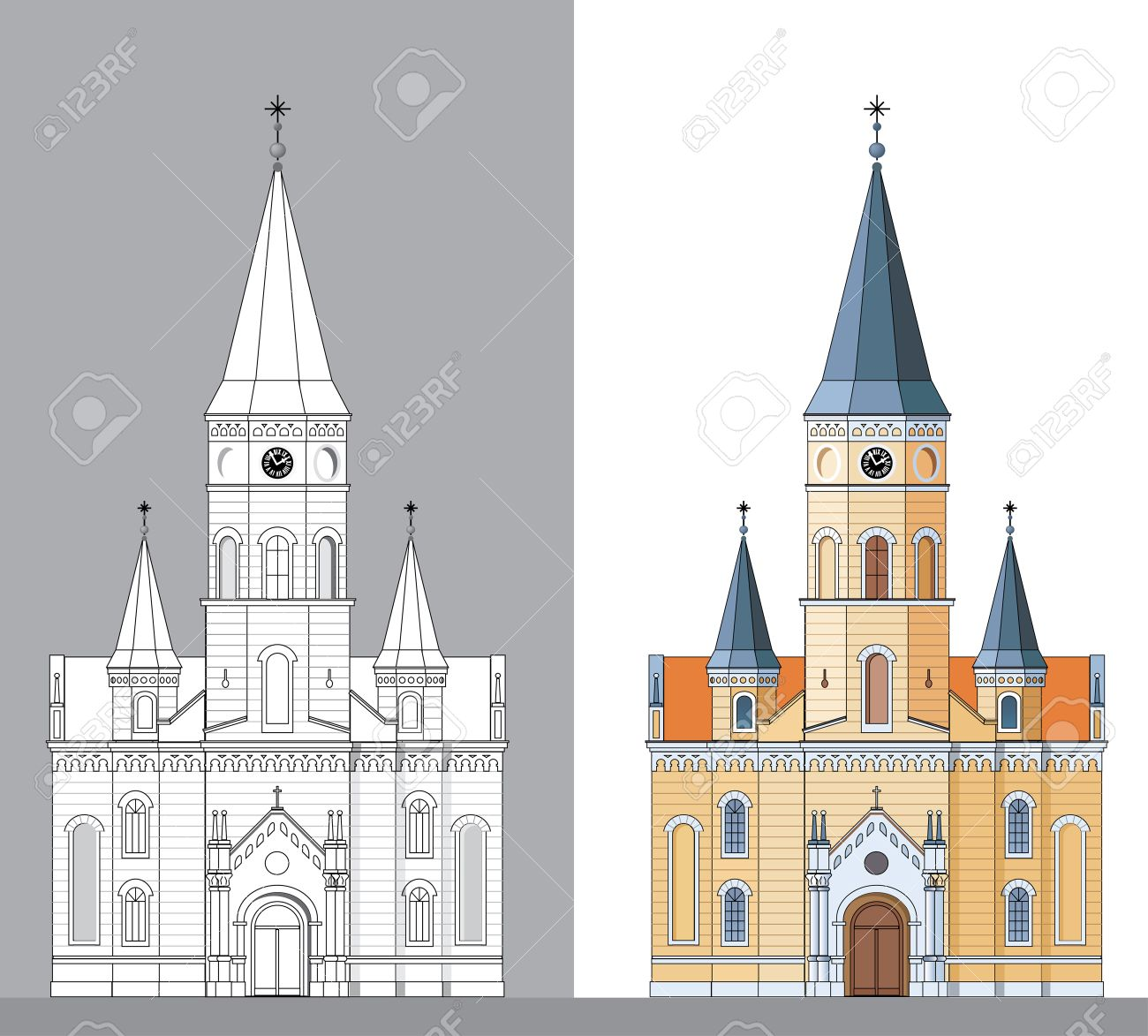 Vector Facade Of The Old Yellow Church Royalty Free Cliparts.