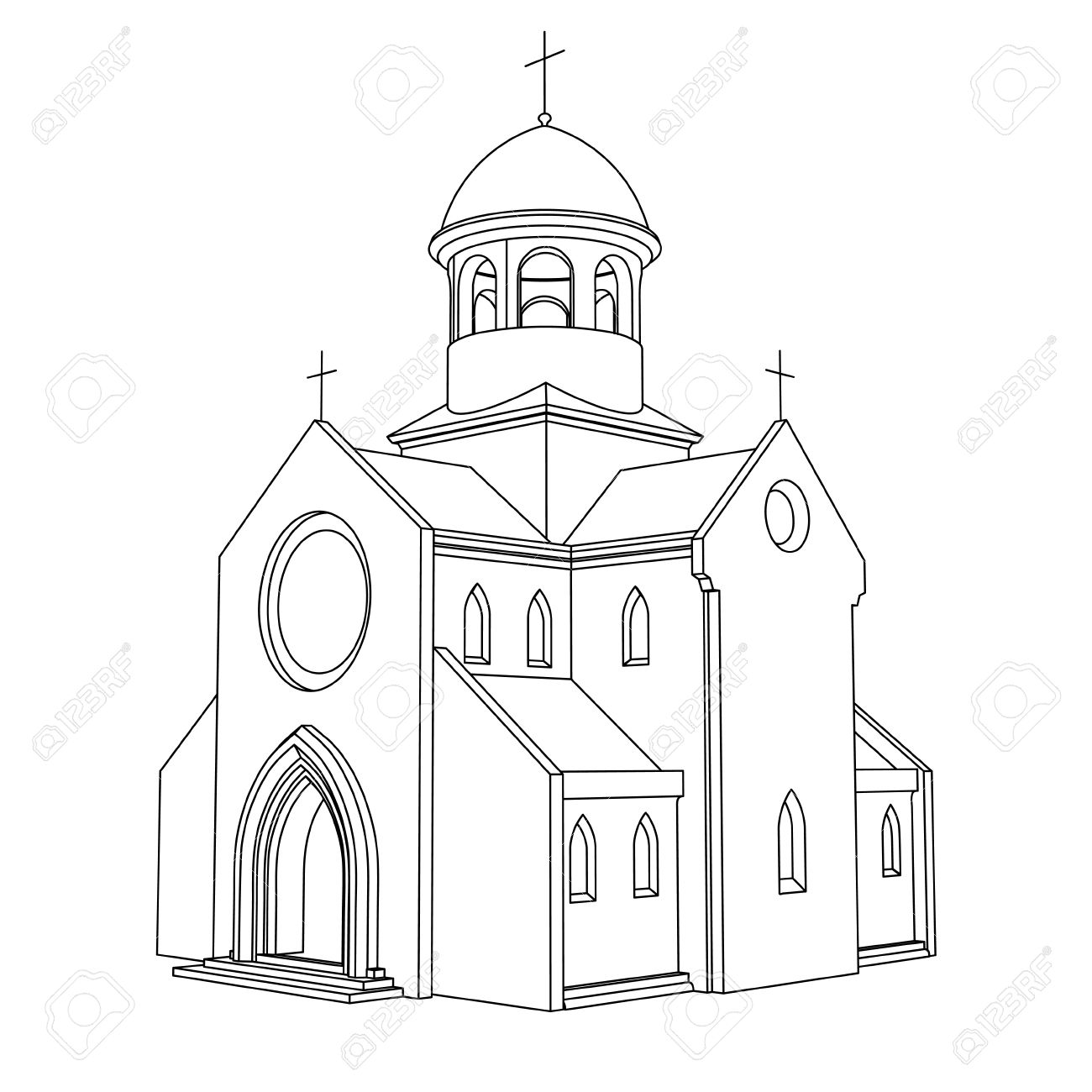 Line Art Ancient Basilica Drawing Vector Illustration Royalty Free.