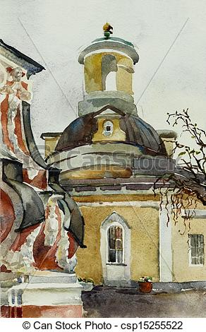 Clip Art of old baroque church watercolor.