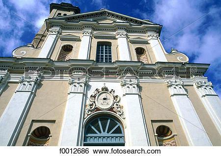 Stock Images of Corsica, Castigniccia, Piedicroce, baroque church.