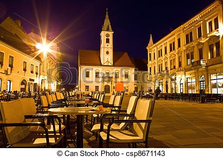 Stock Photos of Baroque town of Varazdin city center at evening.
