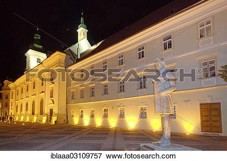 "Picture of ""City Hall, left, baroque Jesuit church, right, Main."