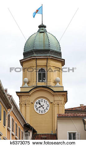 Stock Image of The Baroque city clock tower in Rijeka, Croatia.