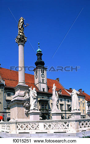 Stock Photography of Slovenia, Maribor, baroque monument by the.