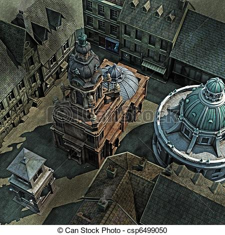 Stock Illustration of Baroque City Roof Tops, 3D render.