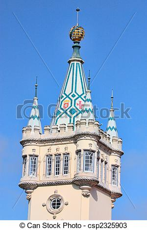 Stock Photos of baroque tower castle of sintra\'s city hall.