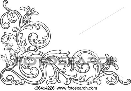 Baroque vintage corner. Clip Art.
