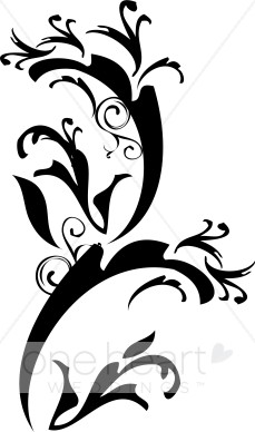 Baroque Floral Accent Clipart.