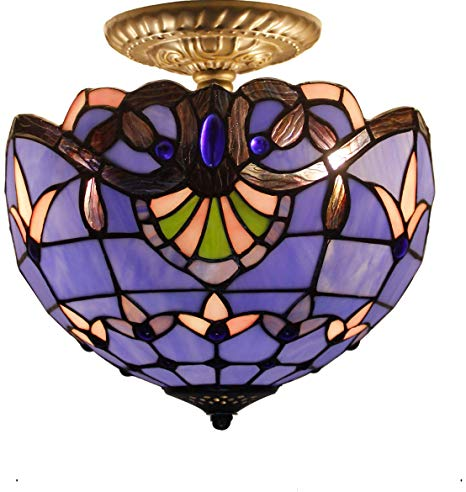 Blue Purple Baroque Tiffany Ceiling Lamp Semi Flush Mount Pendant Hanging  Light Fixture 12 Inch Stained Glass Shade for Dinner Room.