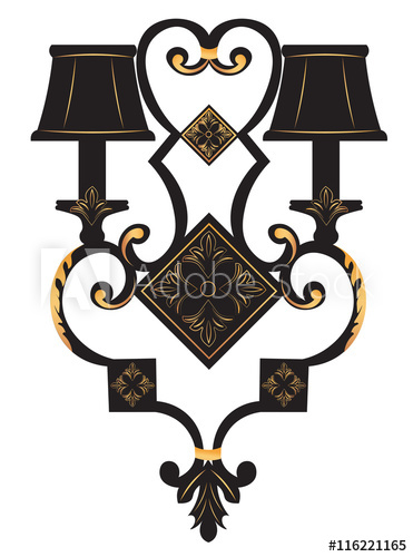 Baroque Elegant Rich Wall lamp with golden ornaments.Vector.