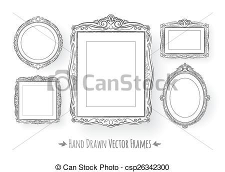 Clipart Vecteur de cadres, vendange, baroque, ensemble.