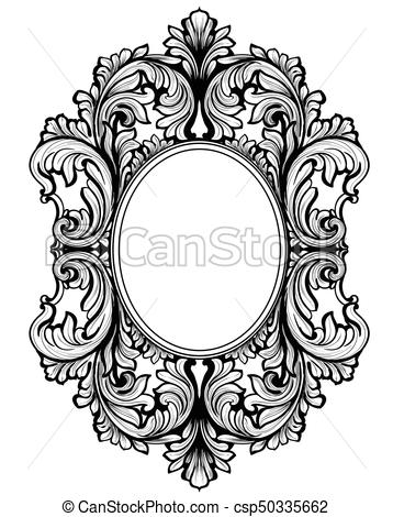 Vintage baroque frame decor. Detailed ornament vector illustration graphic  line art.