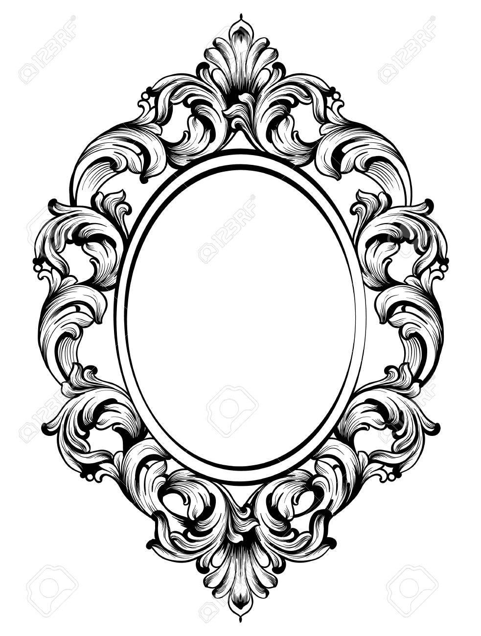 Baroque frame decor. Detailed rich ornament vector illustration.