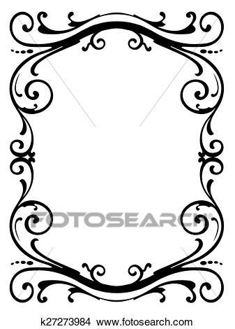 Calligraphy penmanship curly baroque frame black Clipart.