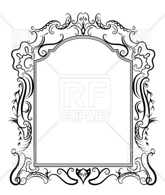 Stylized baroque frame Vector Image.