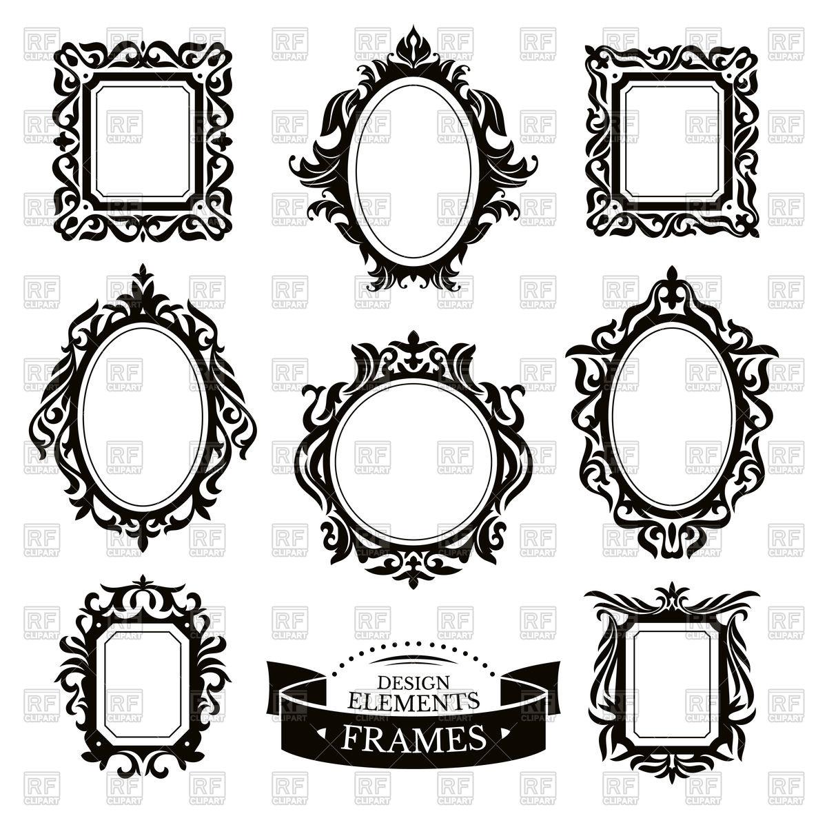 Set of vintage (baroque) frames Stock Vector Image.