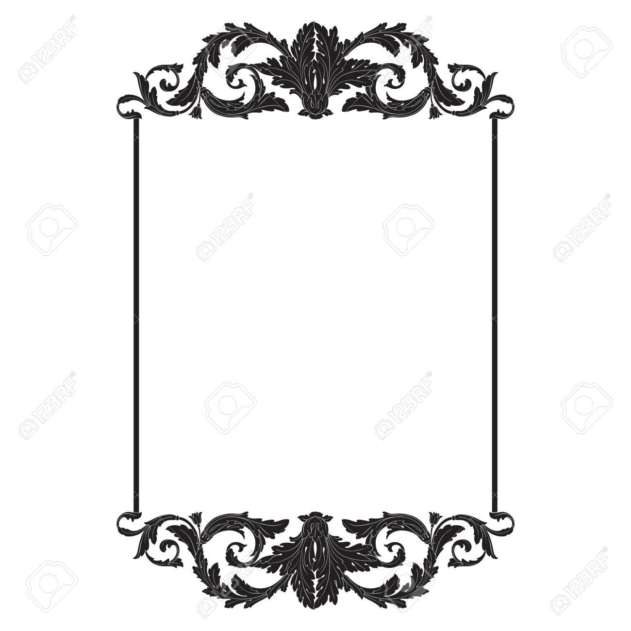 Vintage baroque frame scroll ornament engraving border floral...