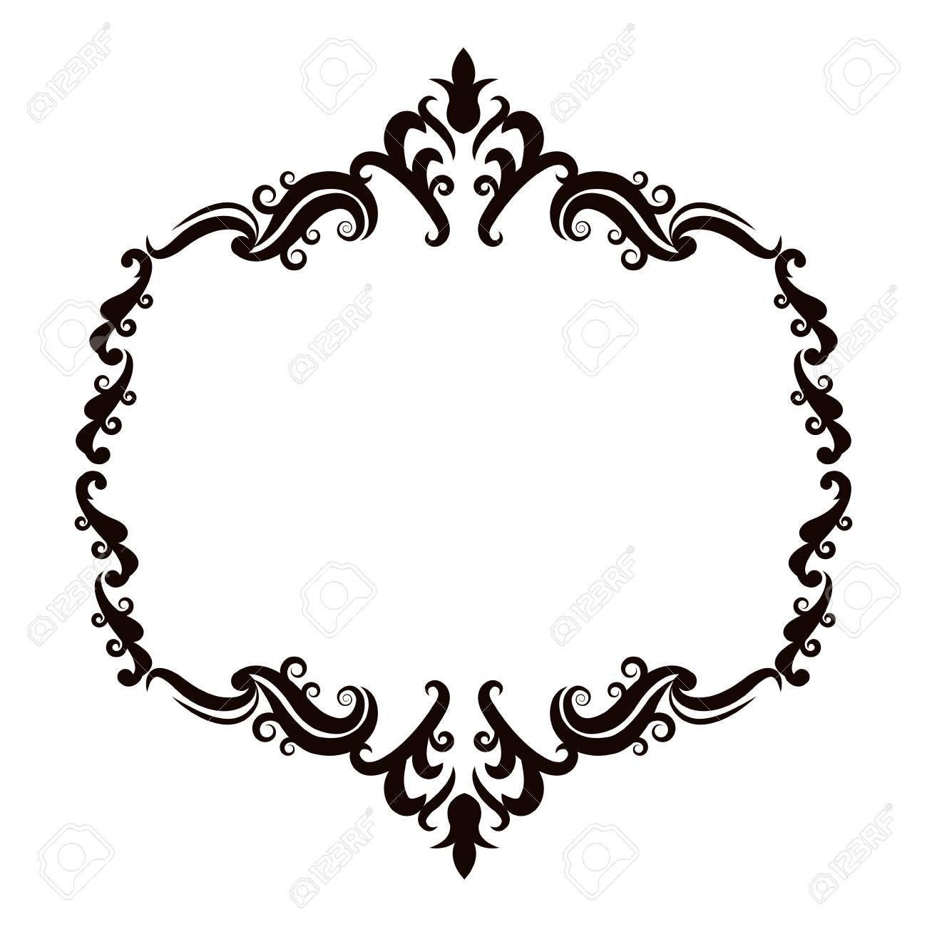 Vintage baroque frame scroll floral ornament border retro pattern...