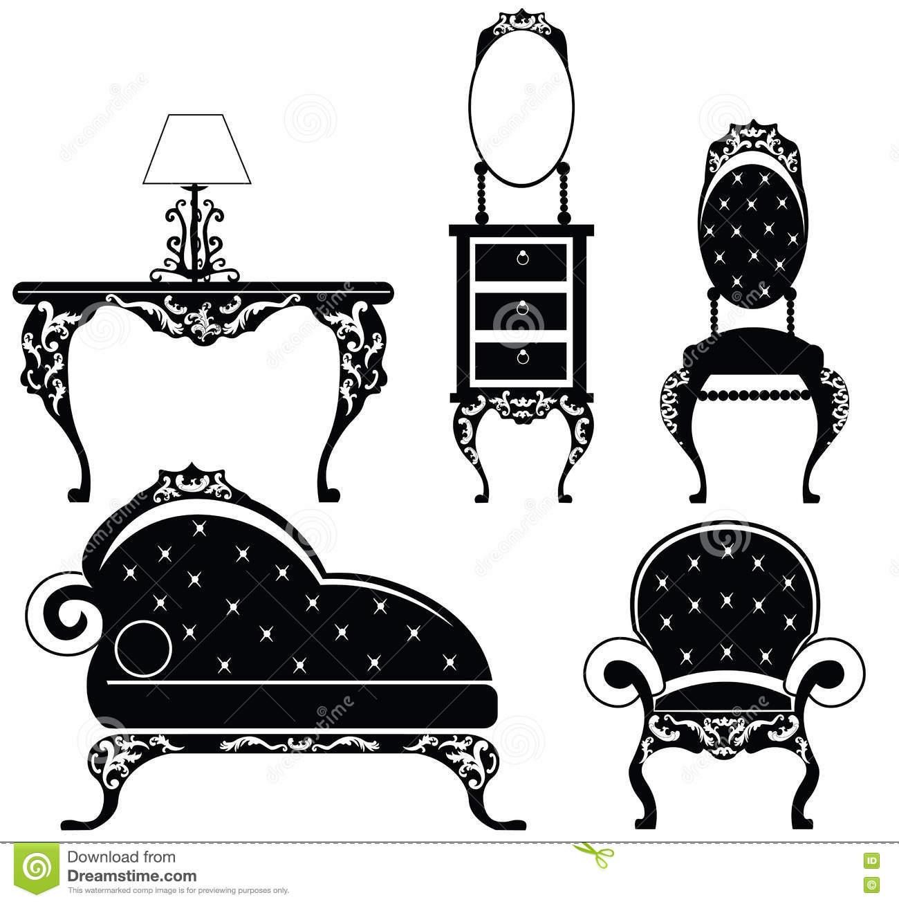 Baroque Style Furniture Set Stock Vector.