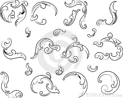 Baroque Clipart. Calligraphy Style. Royalty Free Stock Photo.