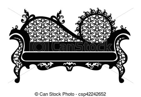 Clipart Vector of Baroque style sofa round shape with rich.