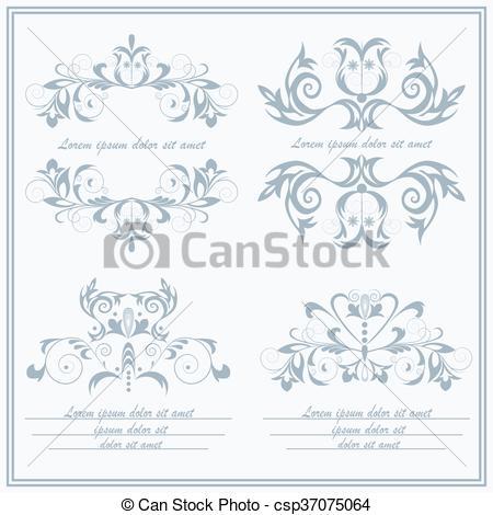 Clip Art Vector of Set elements flower, logos Baroque style.