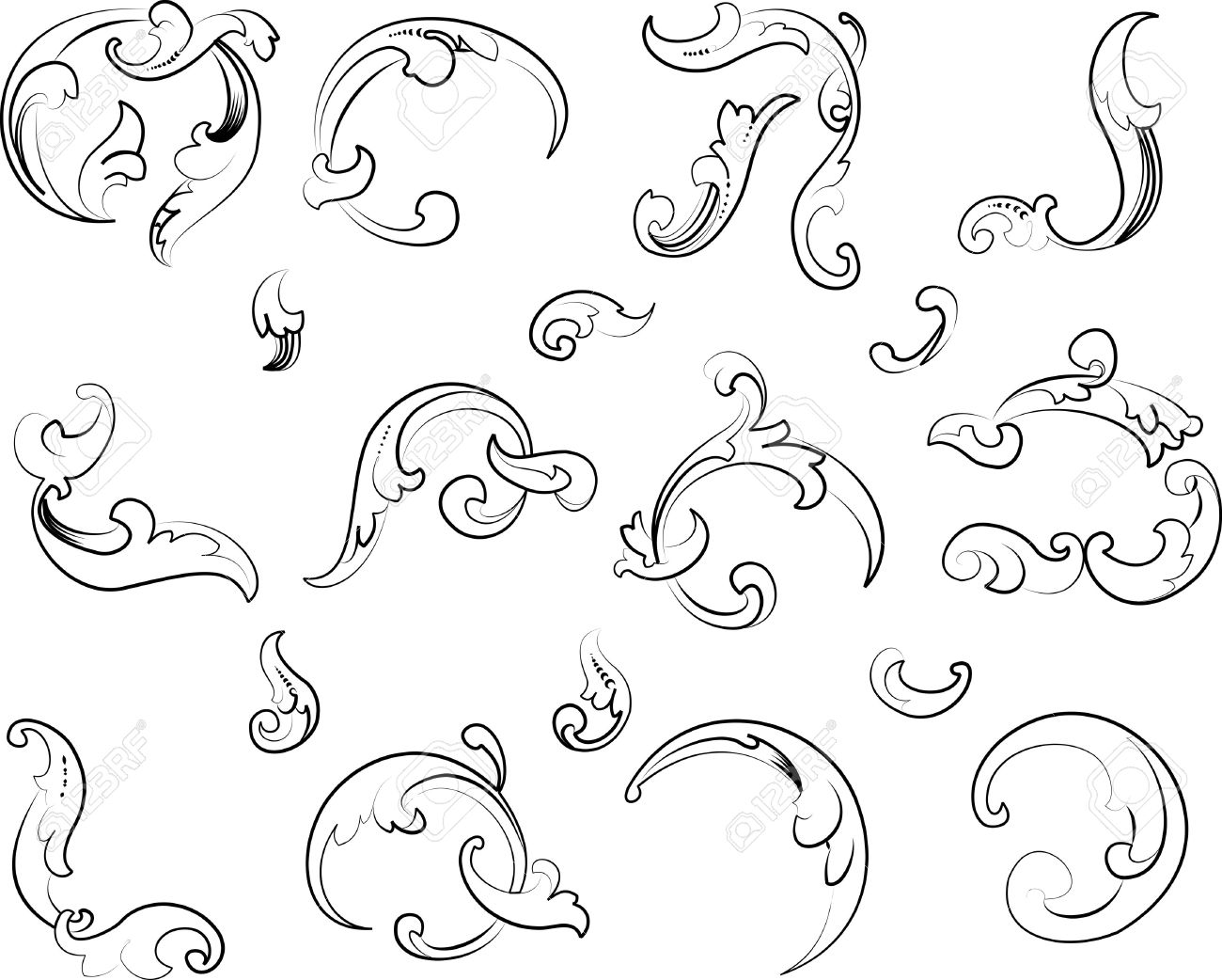 Baroque Clipart. Calligraphy Style. All Curves Separately. Royalty.
