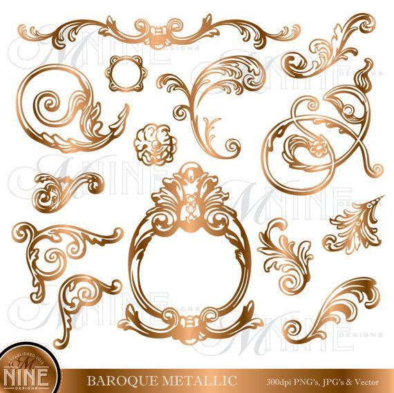 BRONZE BAROQUE Design Elements Clipart, Instant Download, Digital.