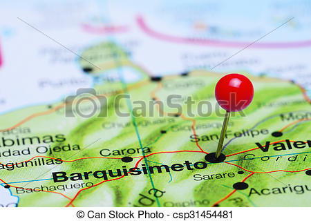 Pictures of Barquisimeto pinned on America map.