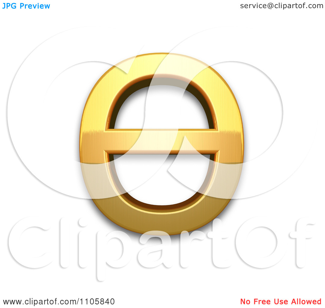 3d Gold cyrillic capital letter barred o Clipart Royalty Free CGI.