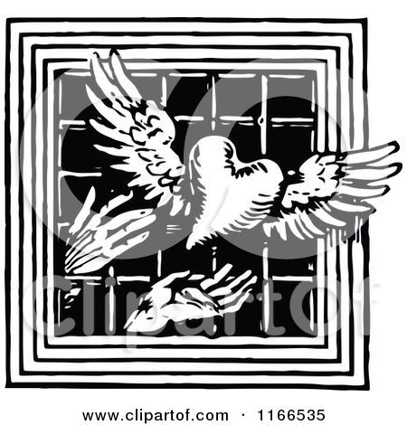 Clipart of Retro Vintage Black and White Hands Releasing a Winged.
