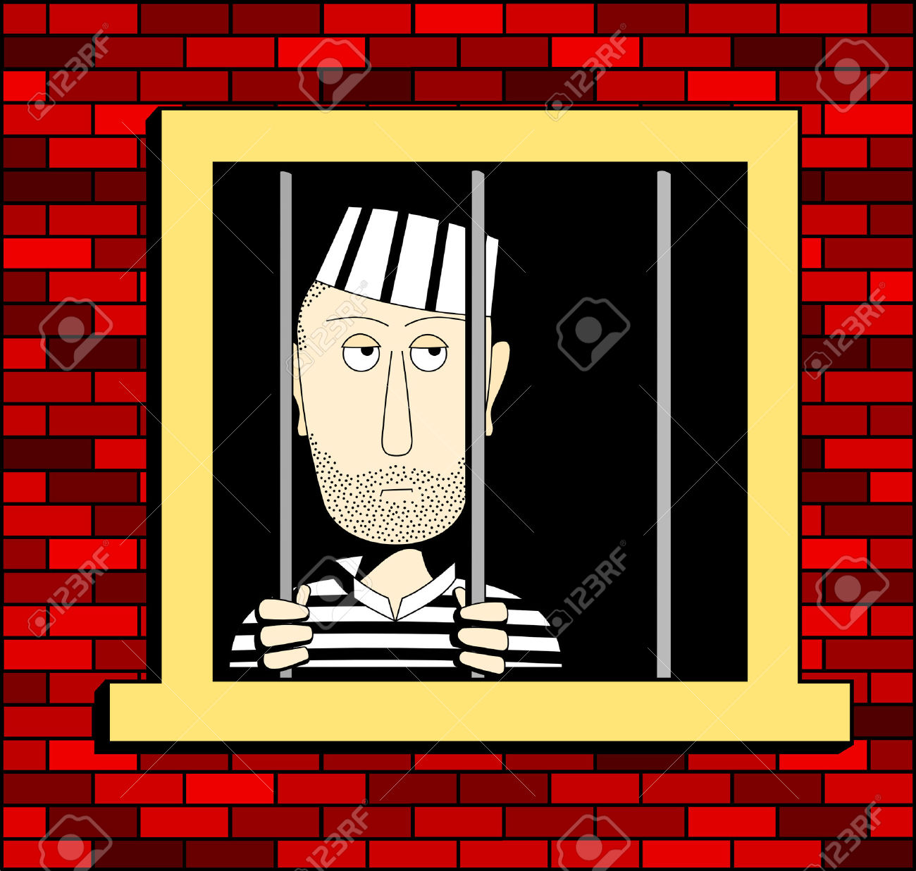 Prisoner In The Barred Window, Illustrated In A Square Format.
