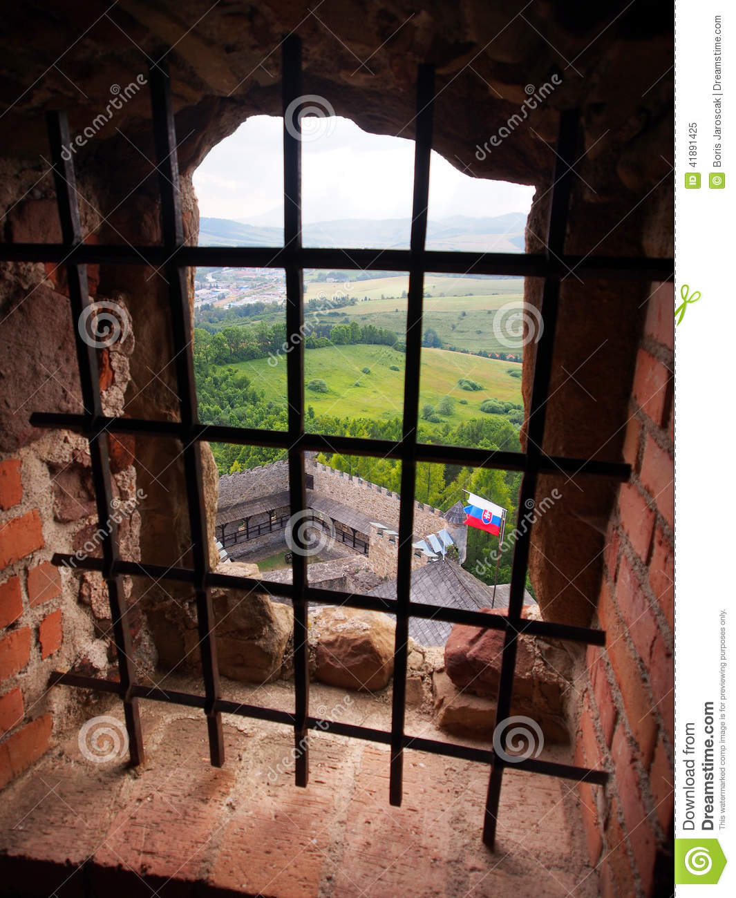 A View Through A Barred Window, Lubovna Castle Stock Photo.