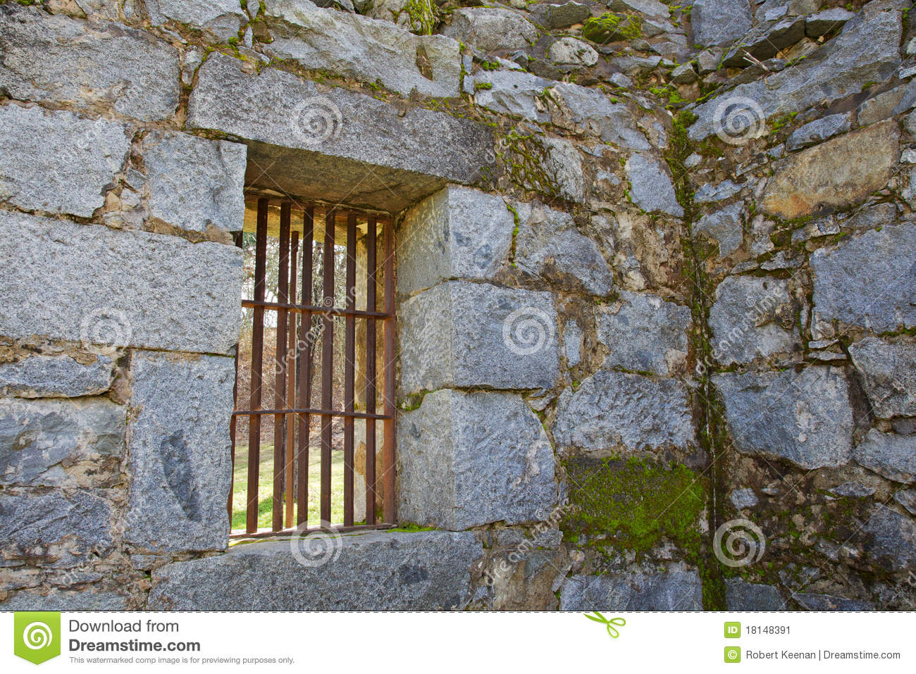 Old Jail Barred Windows Stock Image.