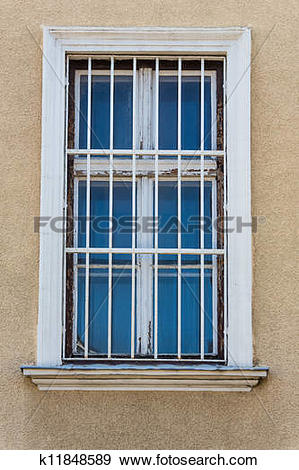 Stock Photograph of barred windows k11848589.