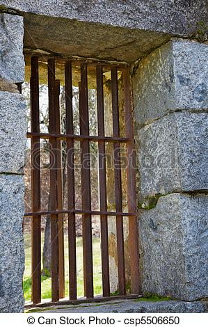 Stock Photography of Old jail barred windows.