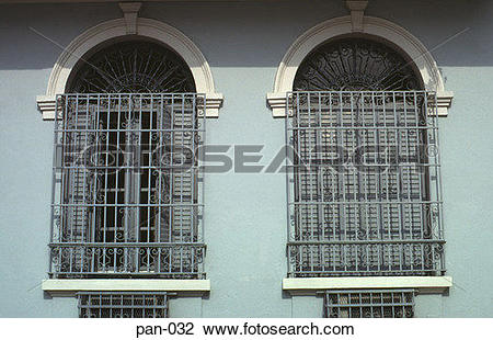 Stock Photo of Barred Windows in Colonial Building Panama City pan.