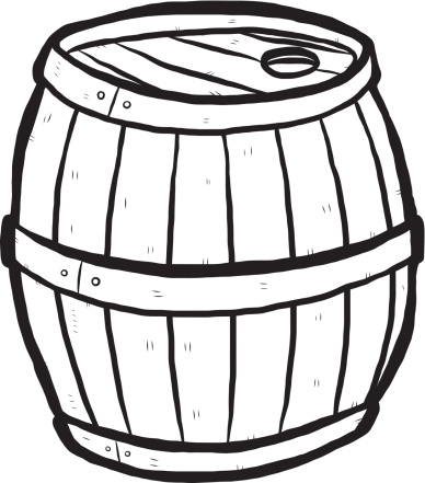 Barrel Clip Art Black And White Sketch Coloring Page.
