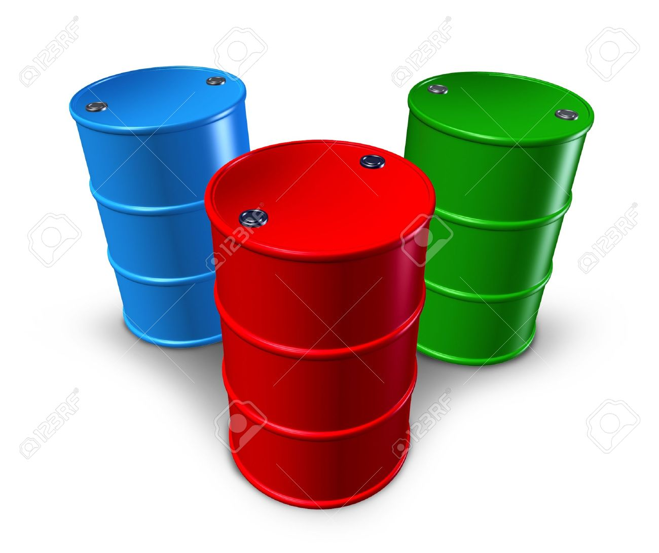 Metal Barrels And Drums With Multiple Colors Representing Toxic.