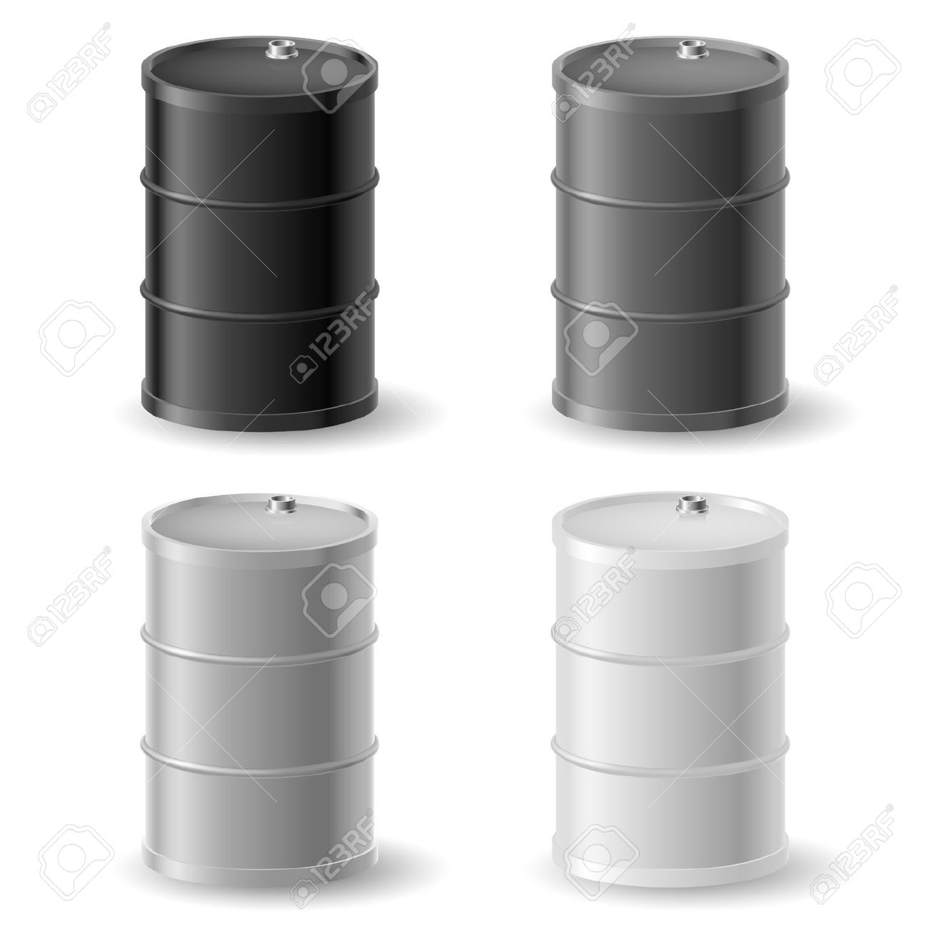 Oil Barrels. Gray Icons Set On White Royalty Free Cliparts.
