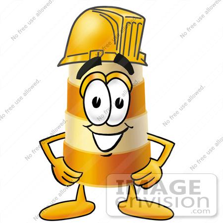 Clip art Graphic of a Construction Road Safety Barrel Cartoon.