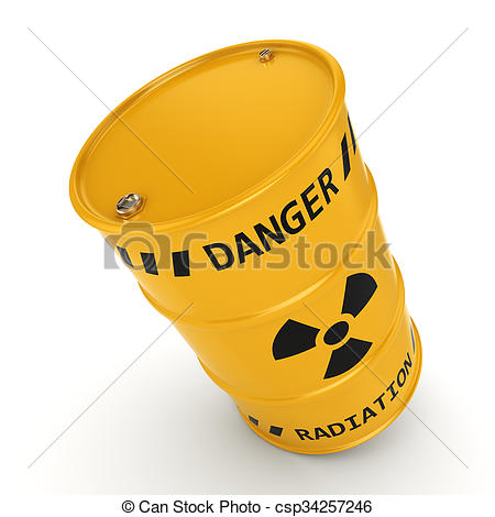 Drawing of Yellow radioactive barrel on a white background.