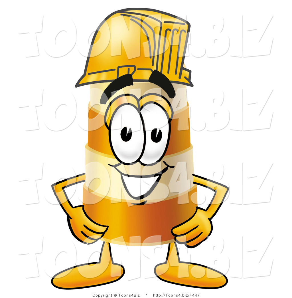 Illustration of a Construction Safety Barrel Mascot Wearing a.