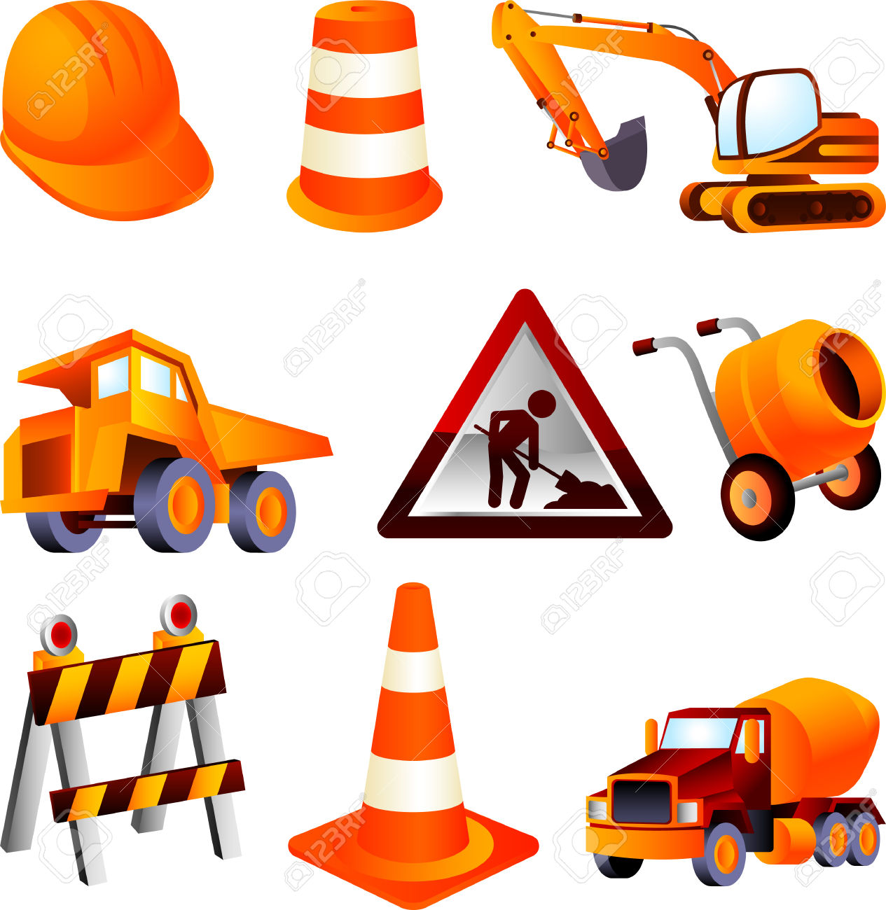 Construction Equipment, Dump Truck, Cement Mixer, Construction.