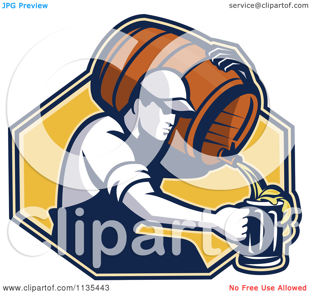 Clipart Of A Retro Man Pouring Beer Into A Mug From A Barrel Over.