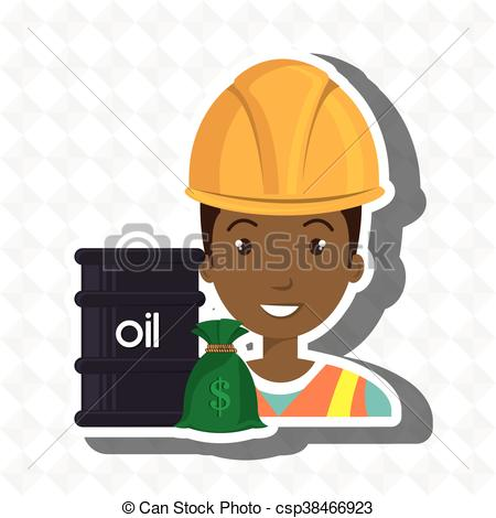 Vector Illustration of persons with barrel petroleo isolated icon.