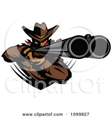 Clipart Western Cowboy Mascot Aiming A Double Barrel Rifle.