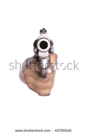 Gun looking down barrel clipart transparent background.